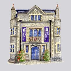 Winchester - Museum - grey - pen & watercolour artwork