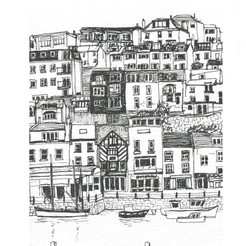 Brixham - the star of Fish Town!  pen and ink portrait
