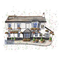 Dartmouth – The Floating Bridge – quirky pen & watercolour artwork