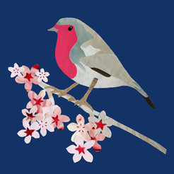 Paper collage robin with blossom