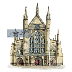Winchester - Cathedral - pen & watercolour artwork