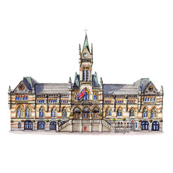Winchester - Guildhall - pen & watercolour artwork