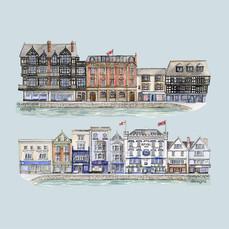 Dartmouth – The Boatfloat – Blue – pen & watercolour artwork