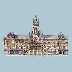 Winchester - Guildhall - grey - pen & watercolour artwork