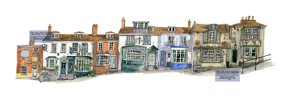 Quay Hill, Lymington (south side) - quirky watercolour