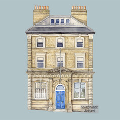 Cowes – Princes Building – grey – watercolour artwork
