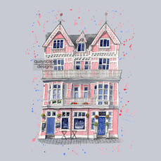 Dartmouth – The Crab – purple – quirky pen & watercolour artwork