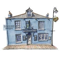 Dartmouth – The Seale Arms – quirky pen & watercolour artwork