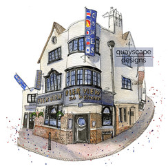 Cowes – The Pier View– quirky pen & watercolour artwork