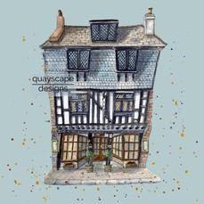 Dartmouth – Bayards Cove Inn – blue – quirky pen & watercolour artwork