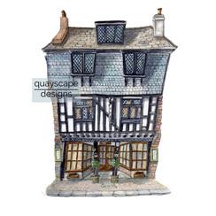 Dartmouth – Bayards Cove Inn – quirky pen & watercolour artwork