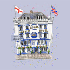 Dartmouth – The Royal Castle Hotel – lilac – quirky pen & watercolour artwork