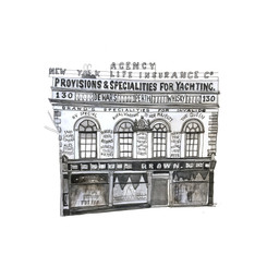 Cowes – Browns Stores – ink artwork
