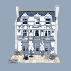 St Mawes – Hotel – grey – gouache artwork