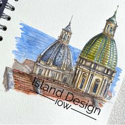 Watercolour sketch of San Giuseppe dei Teatini, Palermo