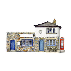 St Mawes – Number 3 The Quay – gouache artwork