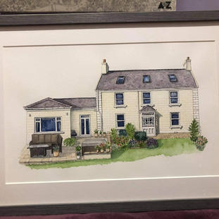 """""""Got a painting of our house done for my mum's birthday and she loves it! Angela was so helpful and brilliant with everything and kept us updated with the progress along the way- she is very talented, I would highly recommend this to everyone. Such a nice and personal painting to own and a great gift idea!"""" (28-04-21 SL Etsy)"""