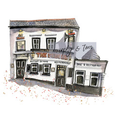 Cowes – Union Inn – quirky pen & watercolour artwork