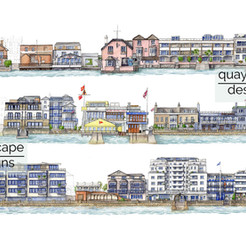 Cowes Waterfront illustration print