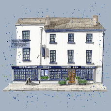 Dartmouth – Browns Hotel –   blue – quirky pen & watercolour artwork