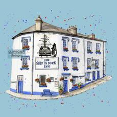 Dartmouth – The Ship In Dock Inn – Blue – quirky pen & watercolour artwork