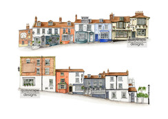 Lymington - Quay Hill - pen & watercolour artwork