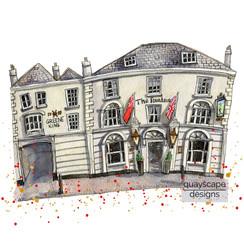 Cowes – The Fountain Inn – quirky pen & watercolour artwork