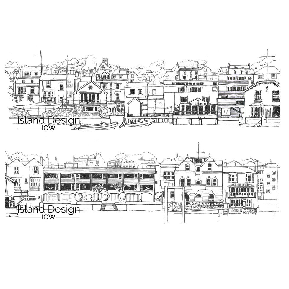 Cowes Waterfront - fineliner