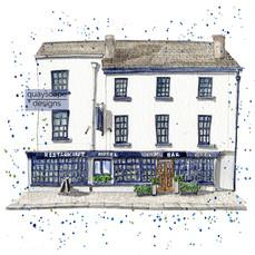 Dartmouth – Browns Hotel  – quirky pen & watercolour artwork