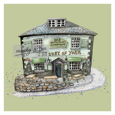 Cowes – The Duke of York – green – quirky pen & watercolour artwork