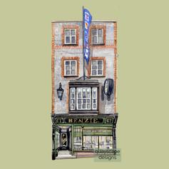 Cowes – Benzie's Shop – Green – watercolour artwork