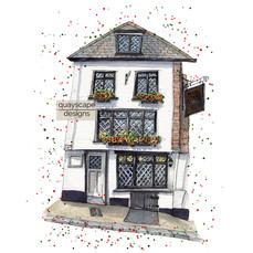 Dartmouth – Seven Stars – quirky pen & watercolour artwork