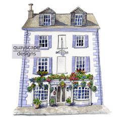 Dartmouth – The Windjammer Inn – quirky pen & watercolour artwork