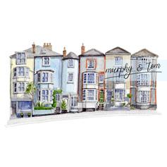 Cowes – Bath Road – pen & watercolour artwork