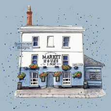 Dartmouth – The Market House Inn – Blue    – quirky pen & watercolour artwork
