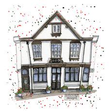Dartmouth – George & Dragon – quirky pen & watercolour artwork