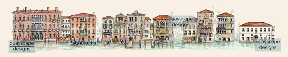 South bank of the Grand Canal, Venice - pen & watercolour