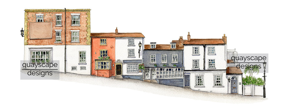 Quay Hill, Lymington (north side) - watercolour