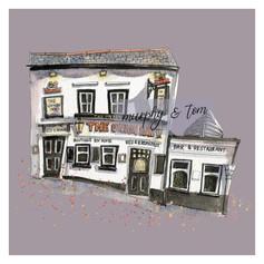 Cowes – Union Inn – Purple – quirky pen & watercolour artwork