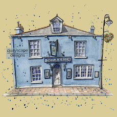 Dartmouth – The Seale Arms – gold    – quirky pen & watercolour artwork