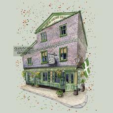 Dartmouth – The Dolphin Inn  – green – quirky pen & watercolour artwork