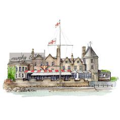 Cowes – The Royal Yacht Squadron – pen & watercolour artwork