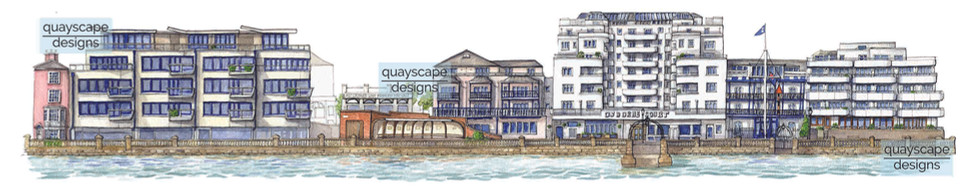 Cowes Waterfront (section 6) - watercolour
