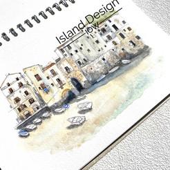 Watercolour sketch of Cefalu, Sicily