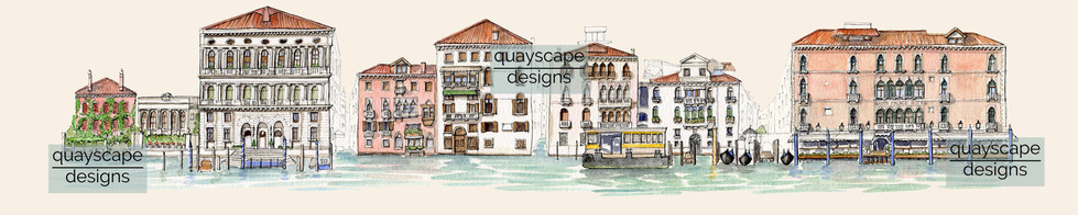 North bank of the Grand Canal, Venice - pen & watercolour
