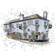 Dartmouth – Dartmouth Arms – quirky pen & watercolour artwork