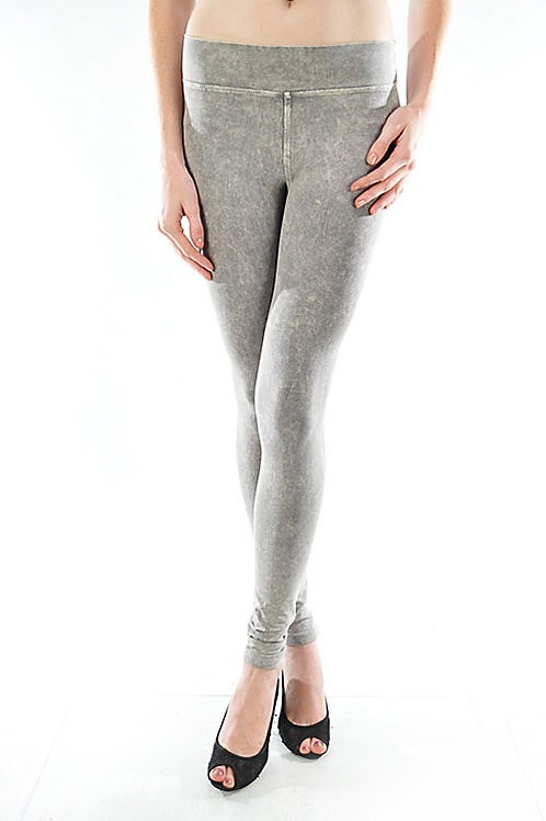 Wide Band Pocket Jegging - Grey Mineral Wash