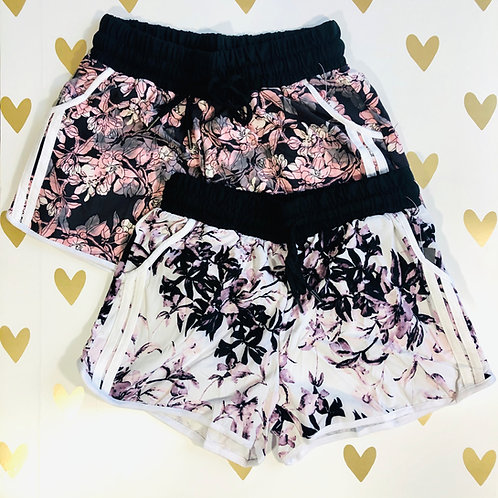 Tie Waist Floral Striped Shorts