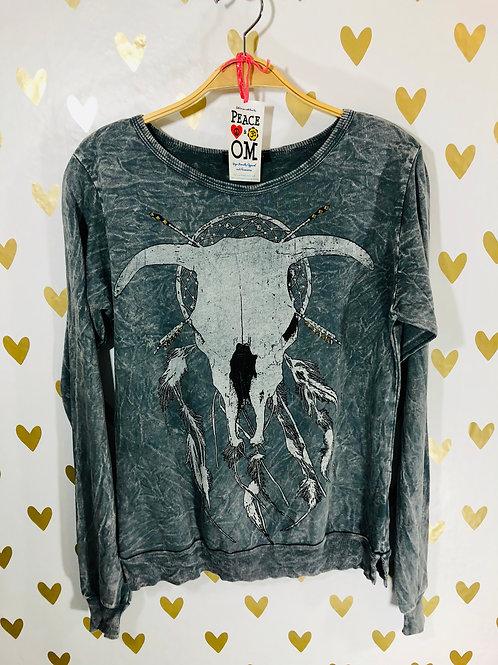 French Terry BullSkull Dreamcatcher Sweatshirt