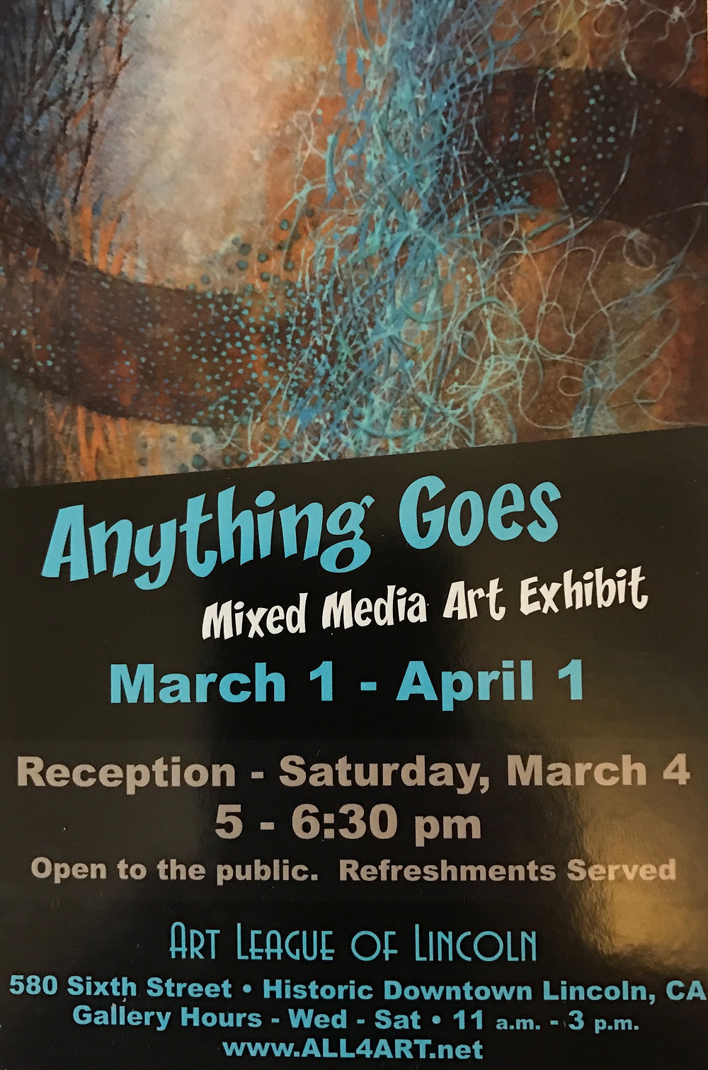 Honored to be a part of this exhibition.  Hope to see some of you Saturday!